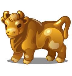 Golden figure of cow chinese horoscope symbol vector
