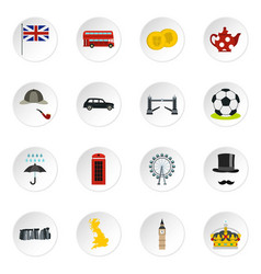 great britain icons set flat style vector image