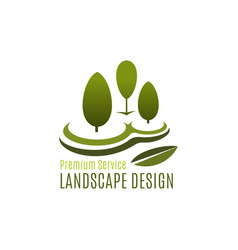 green tree landscape design gardening icon vector image
