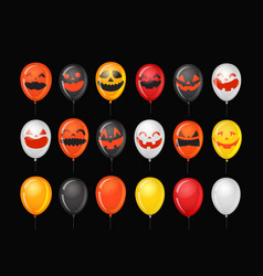 Halloween party ballons with pumpkin faces vector