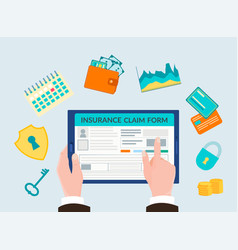 Hand holding the gadget form insurance vector
