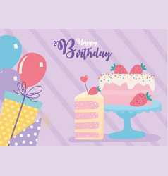 happy birthday cake balloons gifts decoration vector image