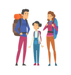 happy family travelling together with backpacks vector image