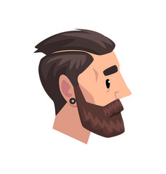head of young bearded man with modern haircut vector image