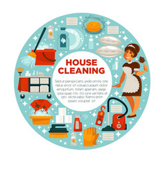 House cleaning poster of housewife housemaid and vector