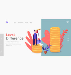 Income class landing page template tiny housewife vector