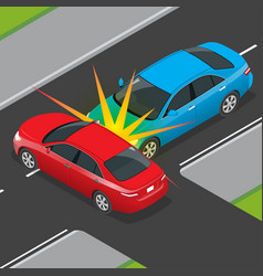Isometric traffic accident involving two vehicles vector
