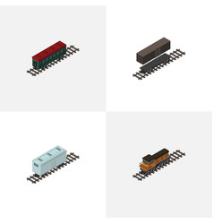 isometric train set of railroad carriage delivery vector image vector image