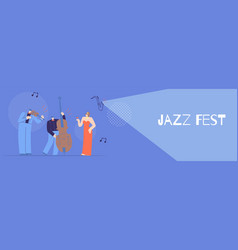 Jazz fest flat banner for concept musical design vector