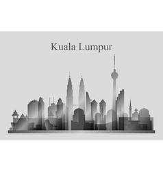 Kuala Lumpur city skyline silhouette in grayscale vector image