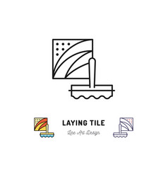 Laying tile icon repair bathroom symbol spatula vector