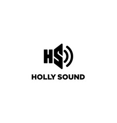 letter h and s with sound logo design concept vector image