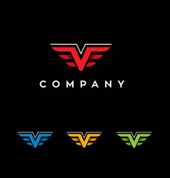 letter v shape wings logo vector image