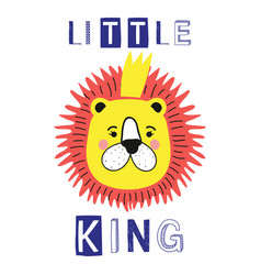 Little king slogan with lion face crown vector