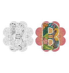 mandala with letter b decorative zentangle vector image