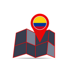 Map colombia is isolated country flag vector