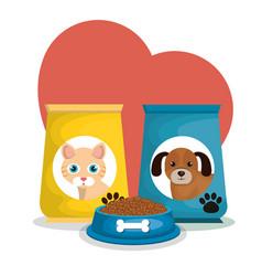 Mascots bags food set vector