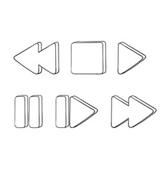 Media buttons outline icons vector
