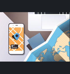 Navigation online application paper world map with vector