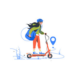 ny delivery young girl on kick scooter using vector image
