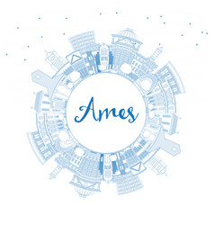 Outline ames iowa skyline with blue buildings and vector