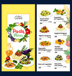 Pasta menu for italian cafe with cuisine of italy vector