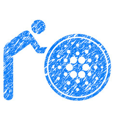 Person rolling cardano coin icon grunge watermark vector