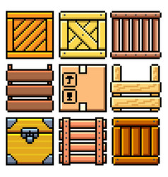 pixel different crates set detailed isolated vector image