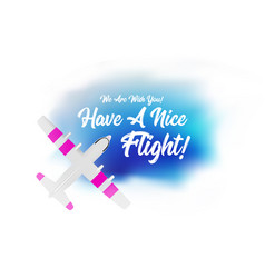 plane flying in clouds with wish a have vector image