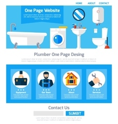 Plumber Service One Page Website Design vector