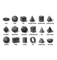 realistic 3d basic shapes sphere shape vector image