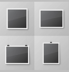realistic blank photo frames set vector image