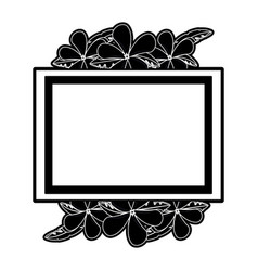 Rectangle frame with flowers vector