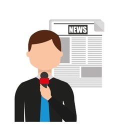 Reporter breaking news icon vector
