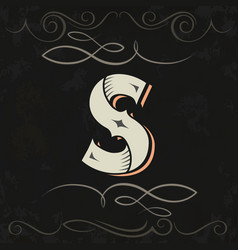 retro style western letter design letter s vector image