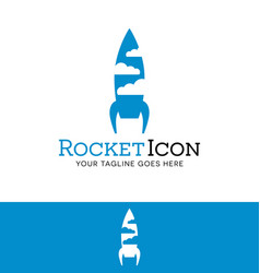 rocket and clouds logfor start up or tech business vector image