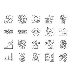 Royalty program line icon set vector