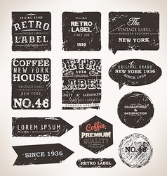 Rustic label set vector