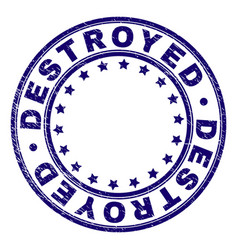 Scratched textured destroyed round stamp seal vector