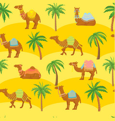 seamless camel pattern cute cartoon camels in vector image