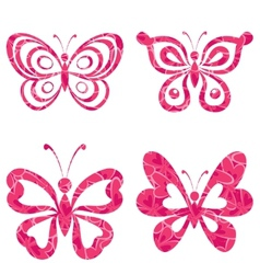 Set butterflies with pattern vector image