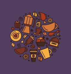 set coffee theme line art draw icons vector image