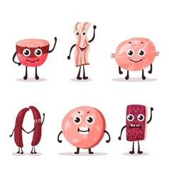 Set of isolated cartoon meat characters vector