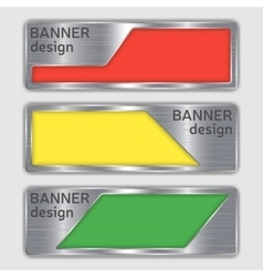 Set of metallic textured banners web banners with vector