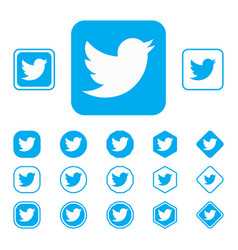 Set of twitter flat icon on a white background vector