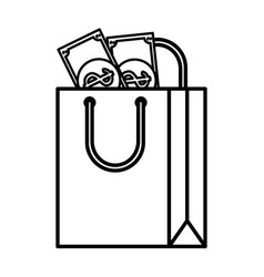 Shopping bag paper with money vector