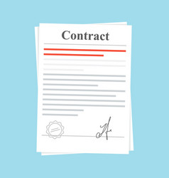 Signed paper deal contract icon agreement vector