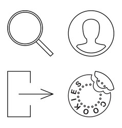 Simple set thin line icons vector