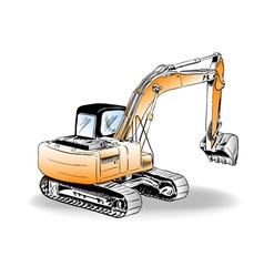 sketch of excavator on the white vector image