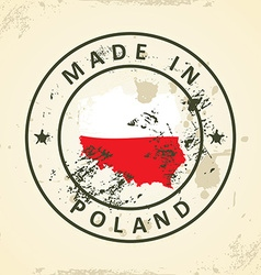 Stamp with map flag of Poland vector image